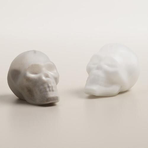 One of my favorite discoveries at WorldMarket.com: Doomed Glass Skull Salt and Pepper Shaker Set