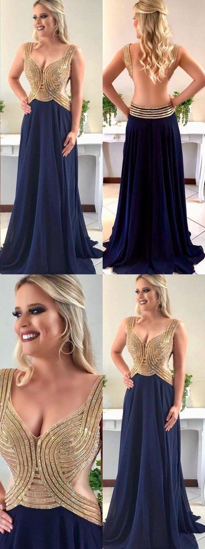 Sparkly prom dresses aline straps vneck long chiffon open back prom