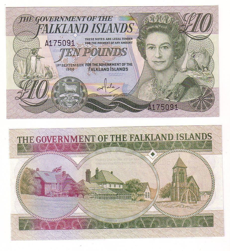This is a 1986 Government of the Falkland Islands Ten Pounds Note (A175091) in uncirculated condition. Will Combine shipping. If total exceeds 100 Express Post shipping must be used. Will quote at time of purchase cost varies on location.  Clic...