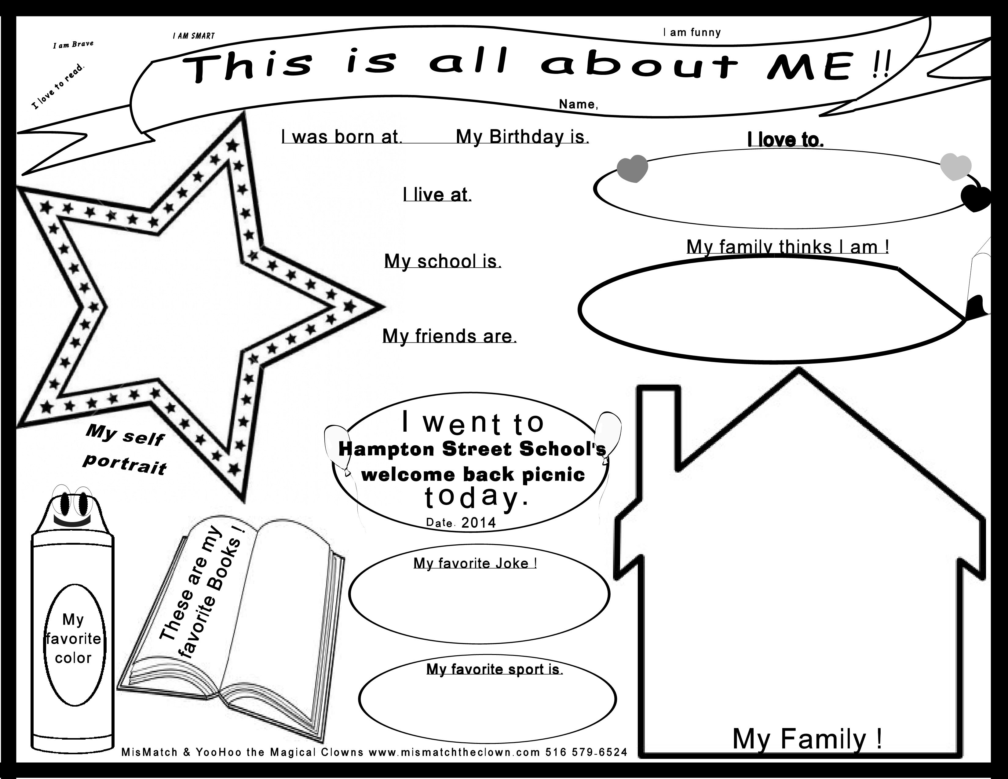 Template All About Me Worksheet Free