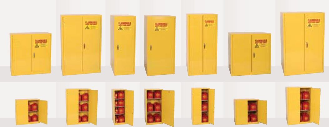 Different options of cabinets from medium size to large 30 Gallon to 90 Gallon capacities