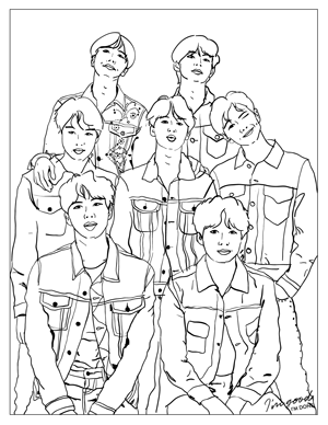 kpop coloring pages BTS Denim Coloring Page | Coloring Pages | Pinterest | BTS, Bts  kpop coloring pages