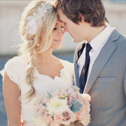 I ADORE this bride's style >> handmade lace dress + crystal headband + messy side braid!