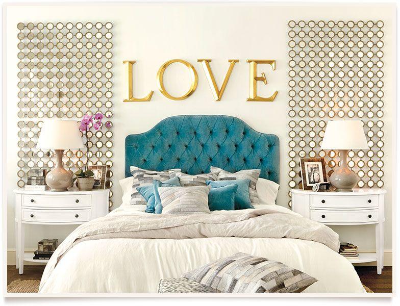 Blue Velvet Headboard White Bedding Gold Accents In This Bedroom Luxury Interior Design