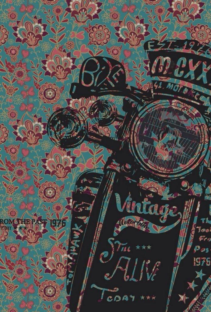 Vintage, Biker, Floral, black, pink, blue Phone