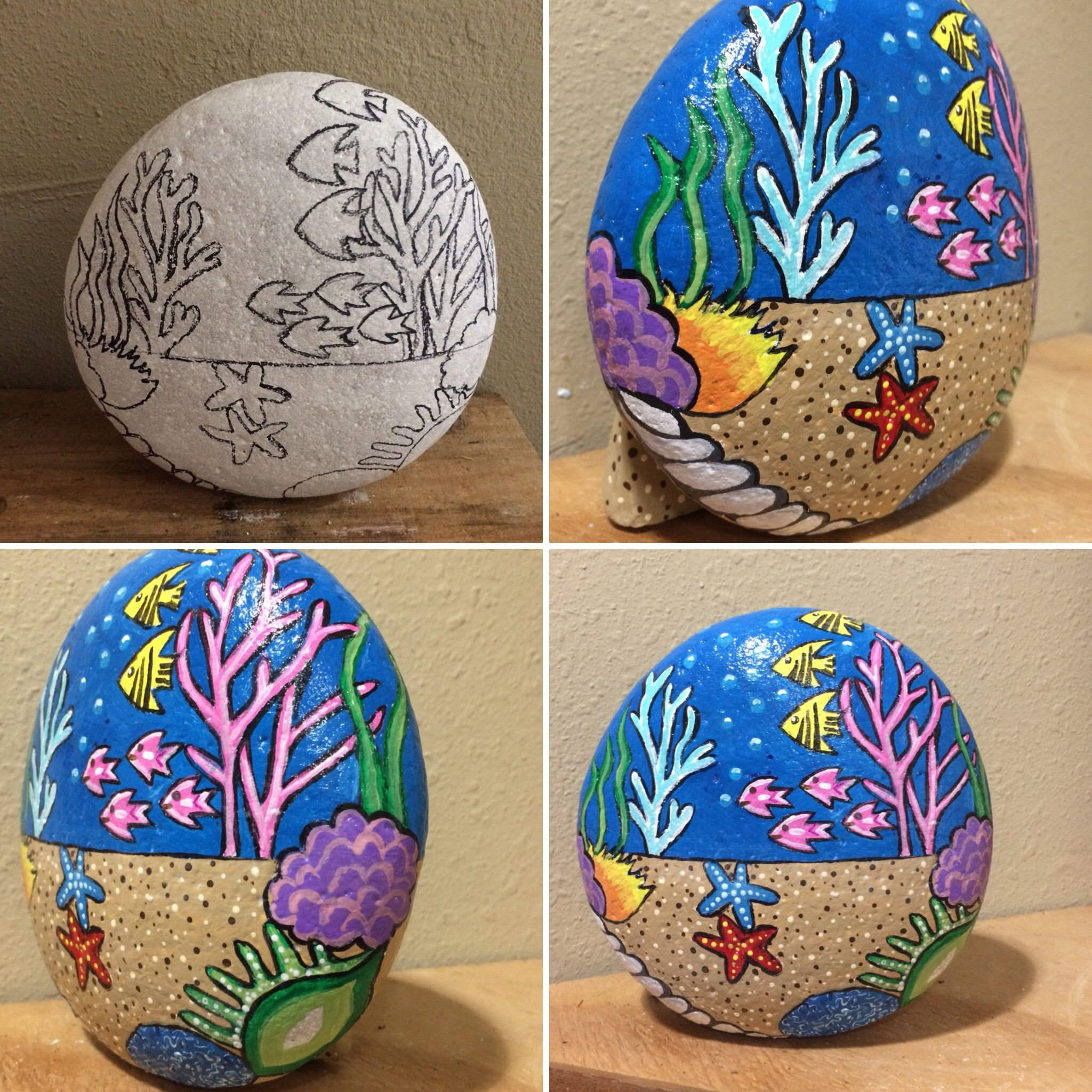 Using Pencil Outlining To Rough Out Design Elements Rock Painting Designs Rock Crafts Painted Rocks