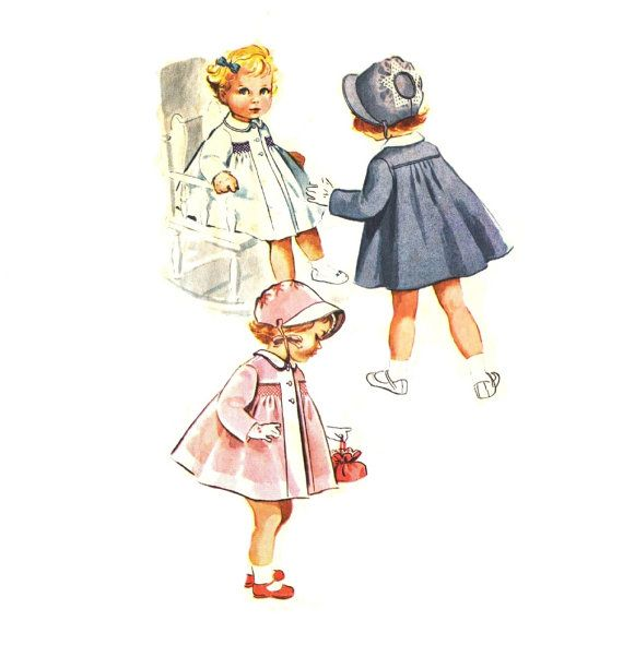 Toddler 50s Smocked Coat and Bonnet McCalls 2217 Size 6 months Vintage Sewing Pattern Cut & Complete
