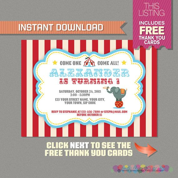 Carnival Invitation With Free Thank You Card Circus Party