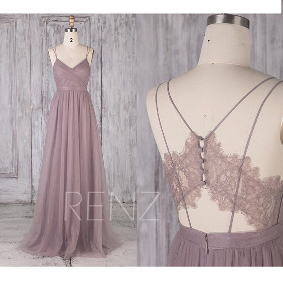 Bridesmaid Dress Mauve Wedding Dress V Neck Prom Dress Long Illusion Lace Back Tulle Dress with Spaghetti Strap (LS483)