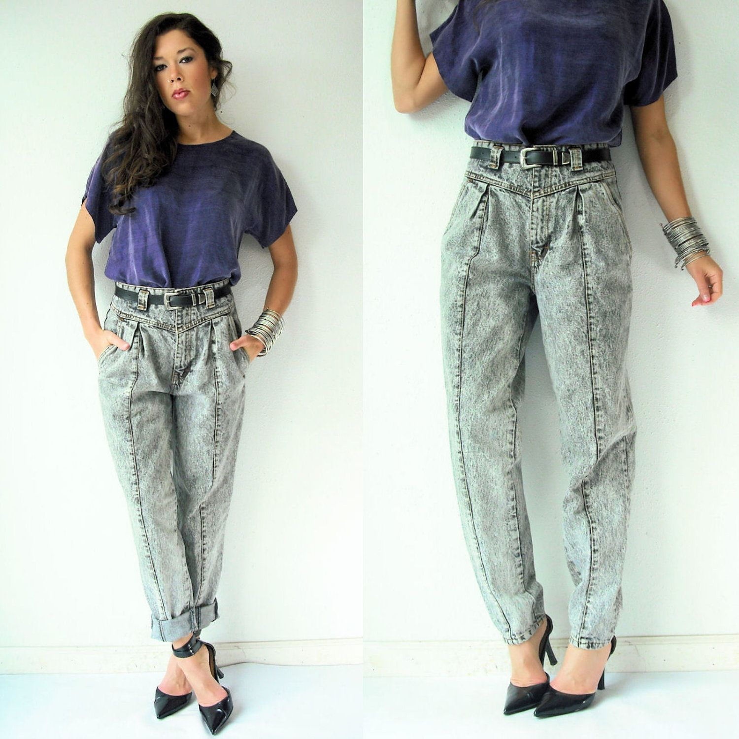 694332e70d23 Image detail for -Gray Acid Wash 80s Vintage Jordache Jeans   High Waist  Tapered Denim .