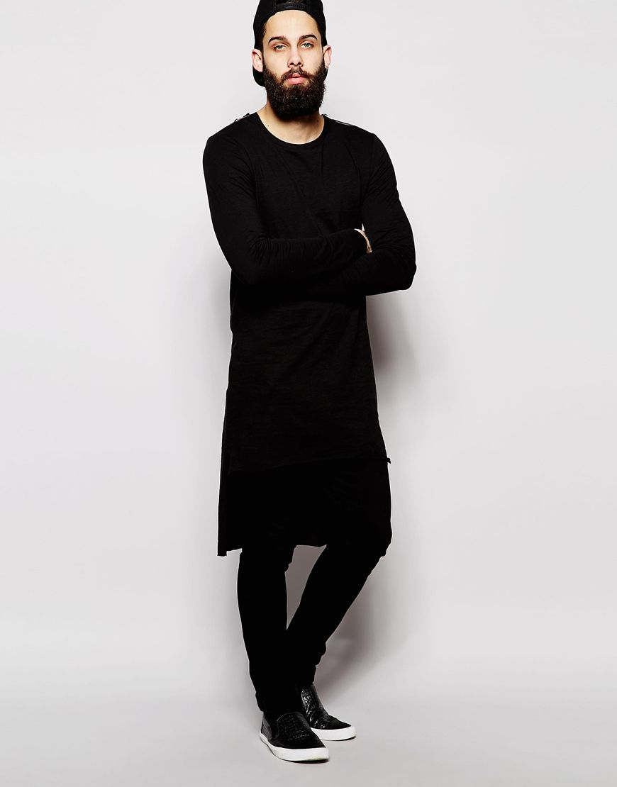 ASOS Extreme Longline Long Sleeve T-Shirt With Shoulder Zip And Dropped Hem