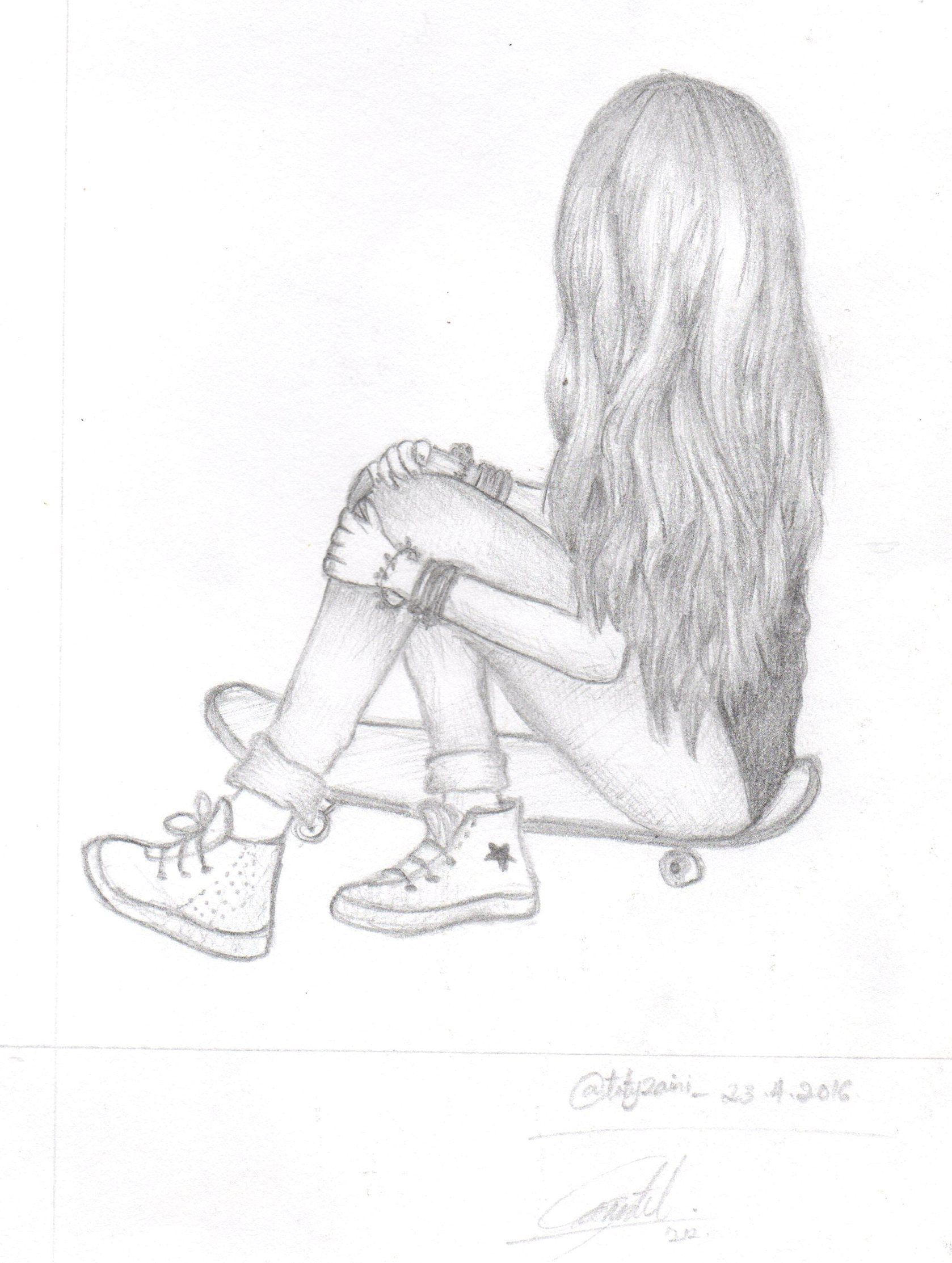 Sitting n lonely girl sketch lonely my girl feeling alone