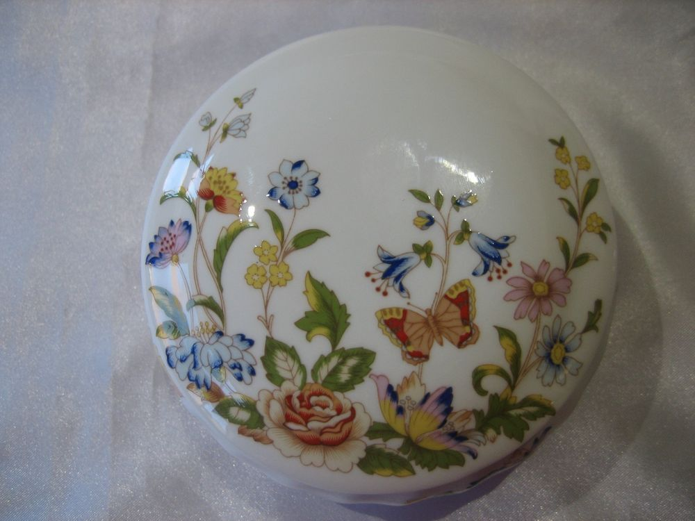 English fine bone china. decorated with flowers Aynsley Cottage Garden round lidded trinket bowl  pin dish