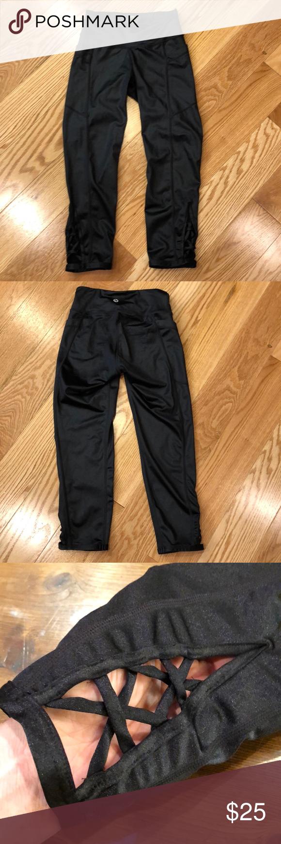 9c763cdf56305d Popflex wishing star active Capri ( shiny) In like new condition shiny  black nylon Capri active pants with open crisscross work at bottom of leg.  popflex ...