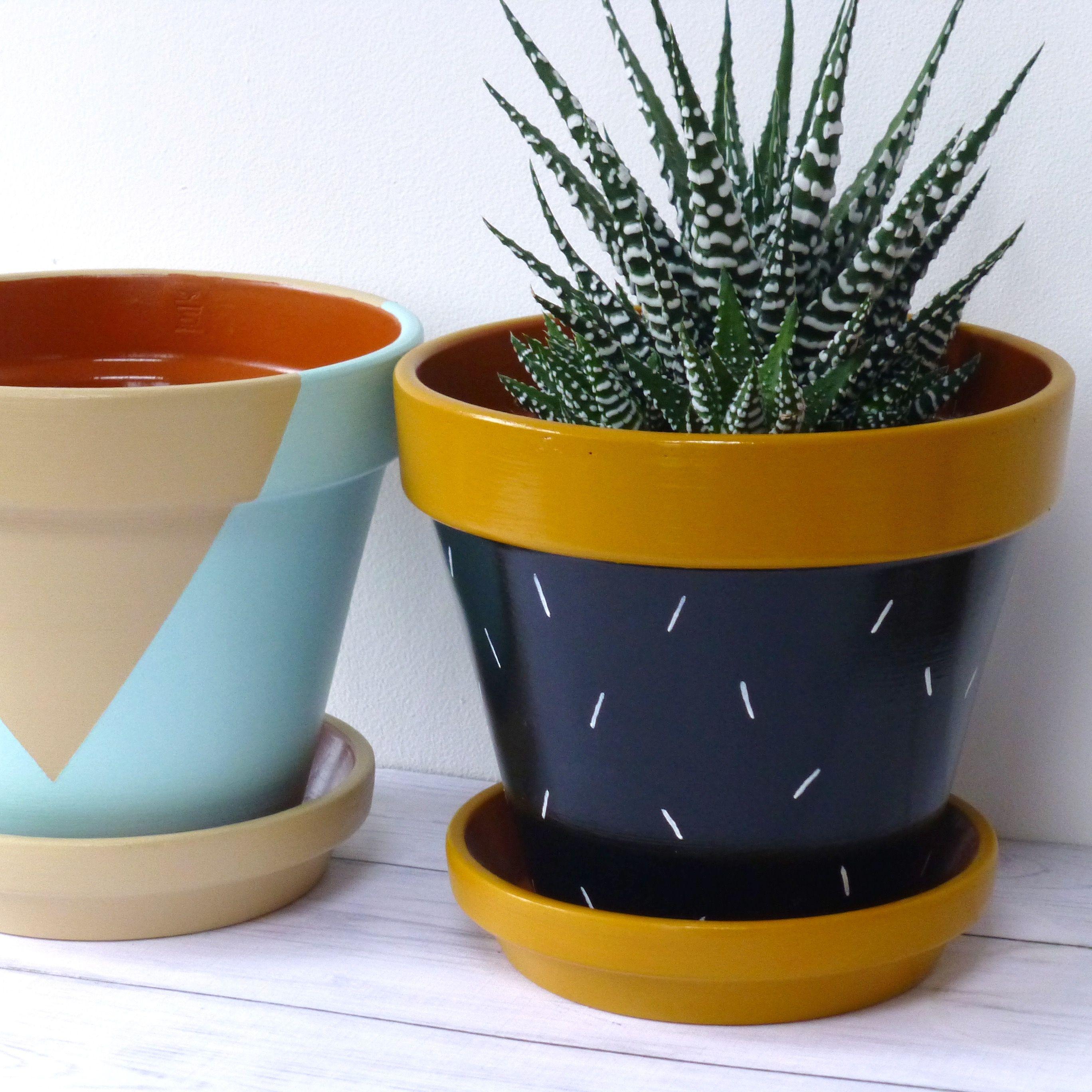 Hand painted terracotta plant pots plant pot diy
