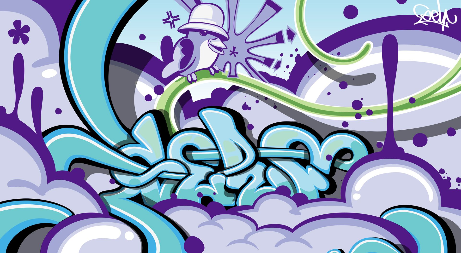Graffiti wallpapers purple chirper in an old school kangol for Graffiti wallpaper