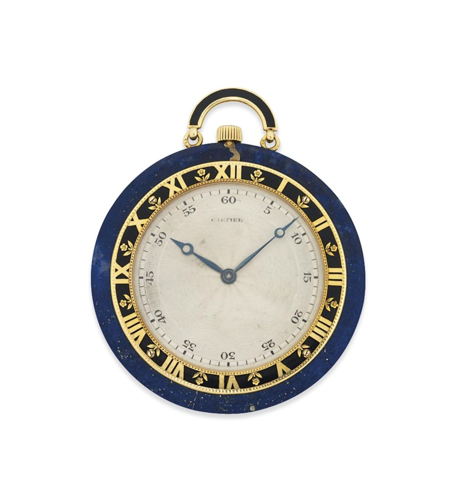 AN ART DECO LAPIS LAZULI AND ENAMEL POCKET WATCH, BY CARTIER - The ...