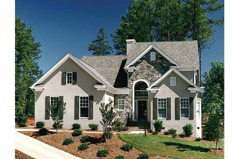 Stone And Stucco Cottage Mediterranean Homes House Plans Traditional House Plan