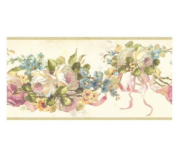 Victorian Rose Wallpaper Border Pink Vintage Rose Swag Wallpaper