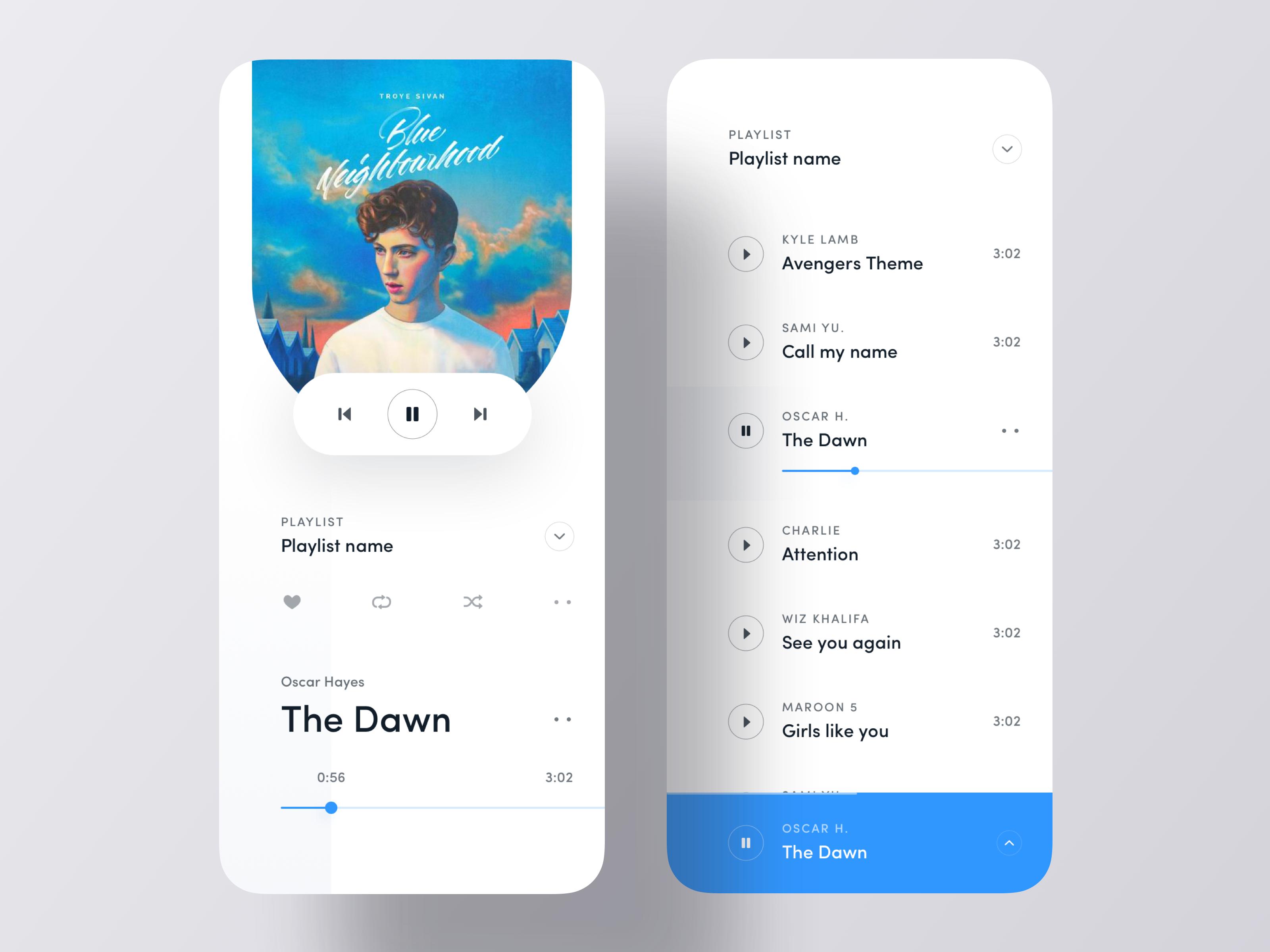 Minimal Music Player iOS App Concept Music players