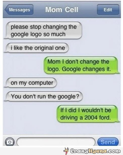 A funny conversation between a mother and a son about the changed Google logo