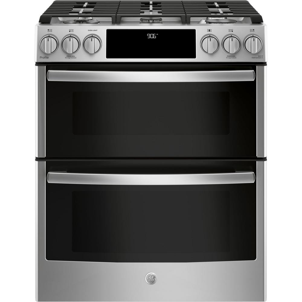 Ge Profile 6 7 Cu Ft Smart Slide In Double Oven Gas Range With
