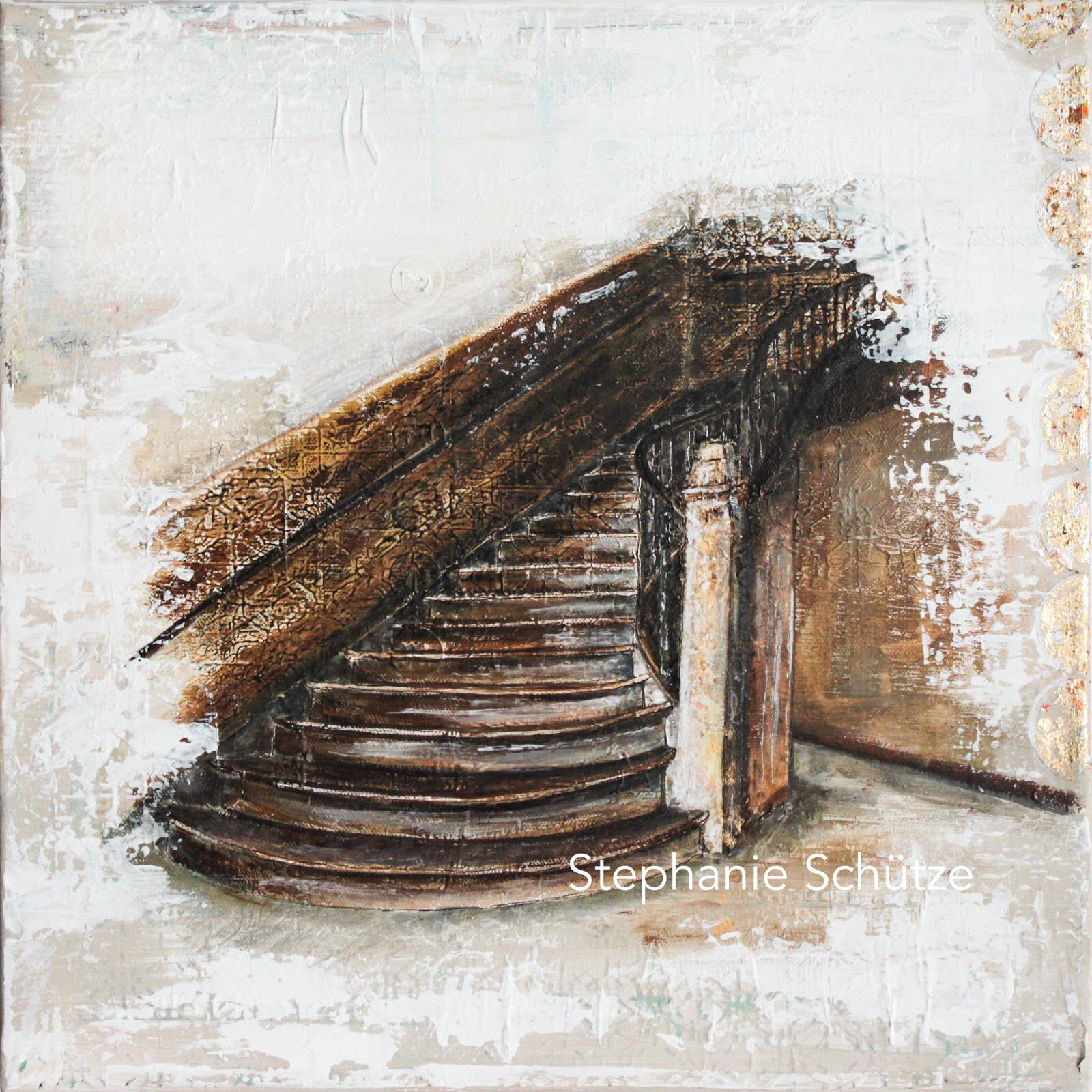 This is a painting I made month ago. It's made from a photo as base of a stairway in an abandoned villa. I'm fascinated by abandoned old houses and I think this painting will not be the last. On this canvas are felt 100 layer until I came to this conclusion. Sometimes you just have to be patient. http://scrapmanufaktur.blogspot.de/2016/07/fairytale-stairway-marchenhafte-treppe.html?m=1