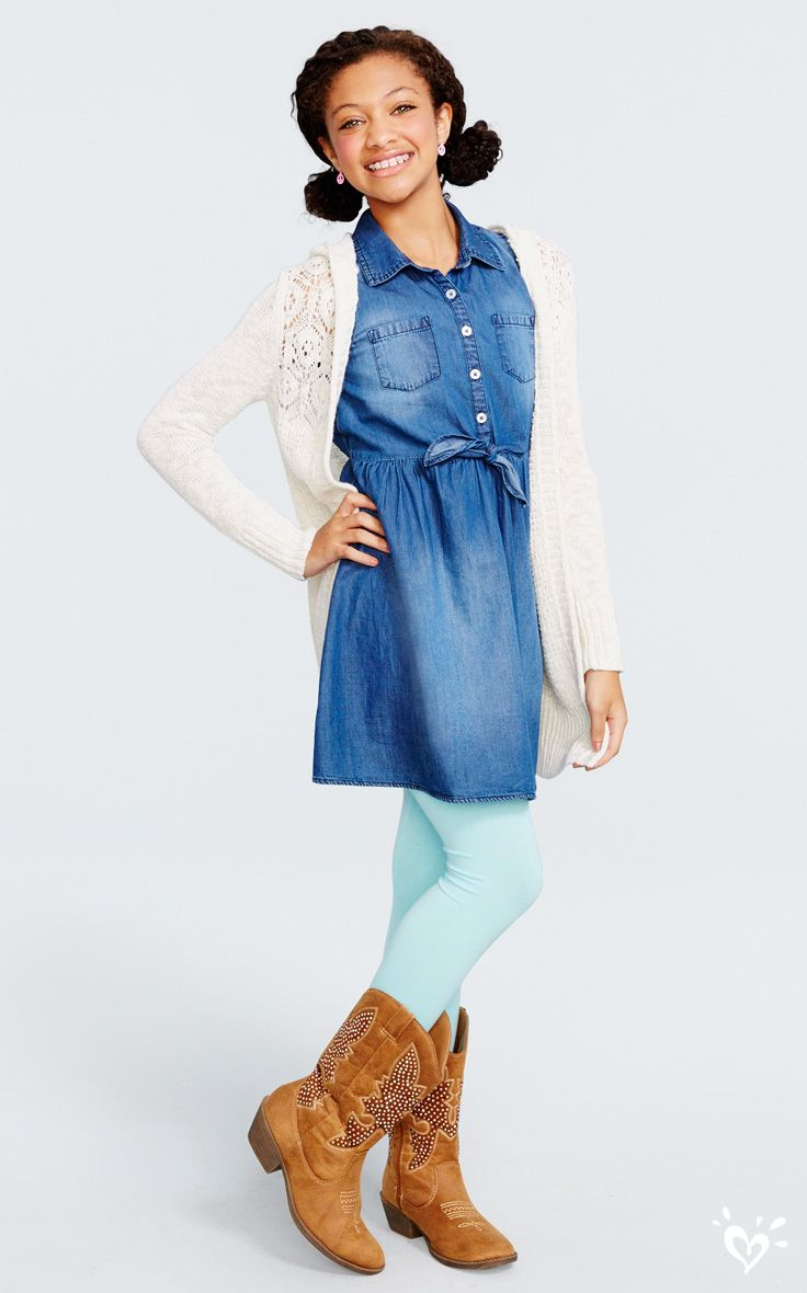 Pair a denim shirt dress with leggings and boots for a winter-ready look!