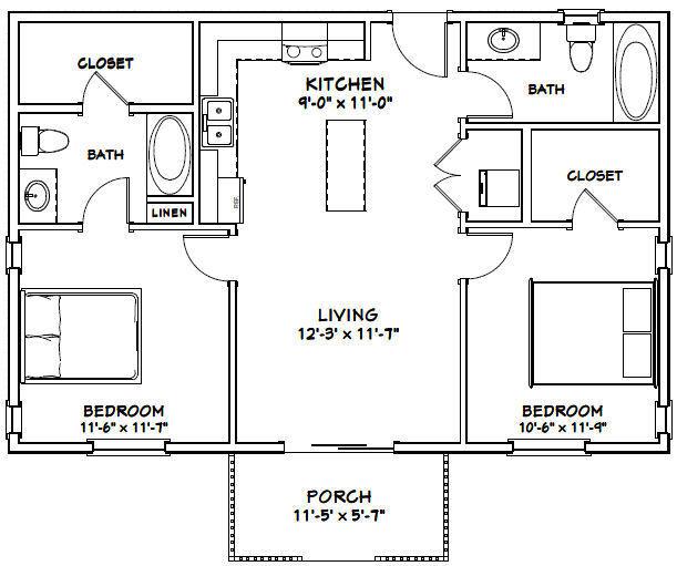 36x24 House -- 2 Bedroom 2 Bath -- 864 sq ft -- PDF Floor ...