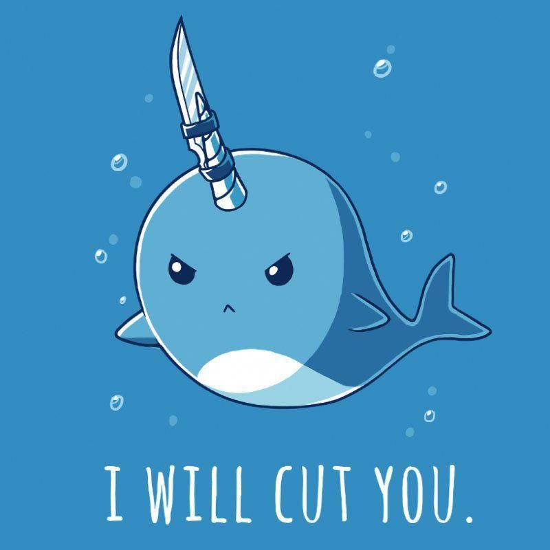 Knifey The Narwhal T Shirt By Teeturtle Cute Narwhal Cute Cartoon Wallpapers Narwhal Drawing