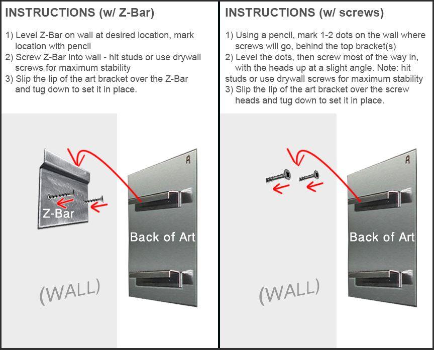How To Hang Metal Wall Art Mounting Instructions Diagram Metal Wall Art Panels Metal Wall Art Wall Frames
