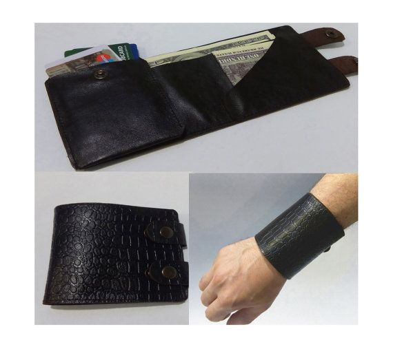 Man's Cow Leather Wallet Very Small ideal for Shirt Pocket with Button Closer