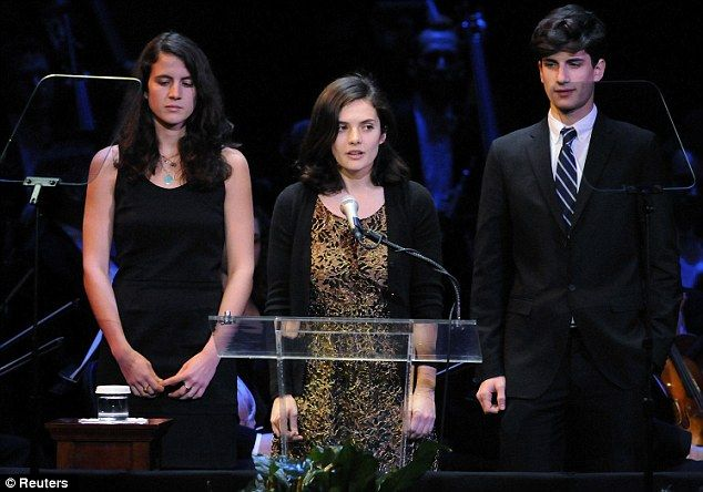 Kennedy grandchildren: John Schlossberg pictured with his sisters Tatiana and Rose.