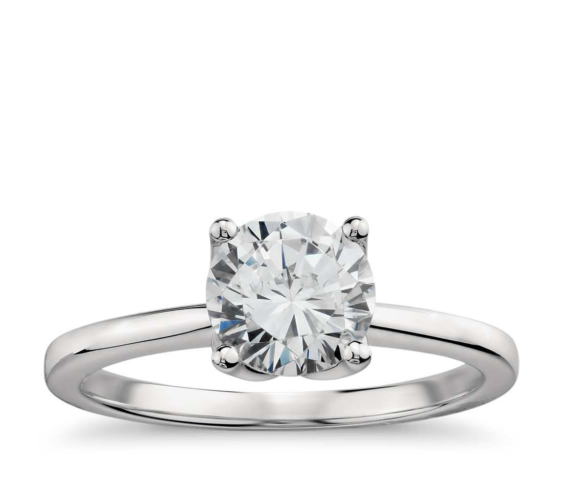 Monique Lhuillier Solitaire Engagement Ring in Platinum with Round