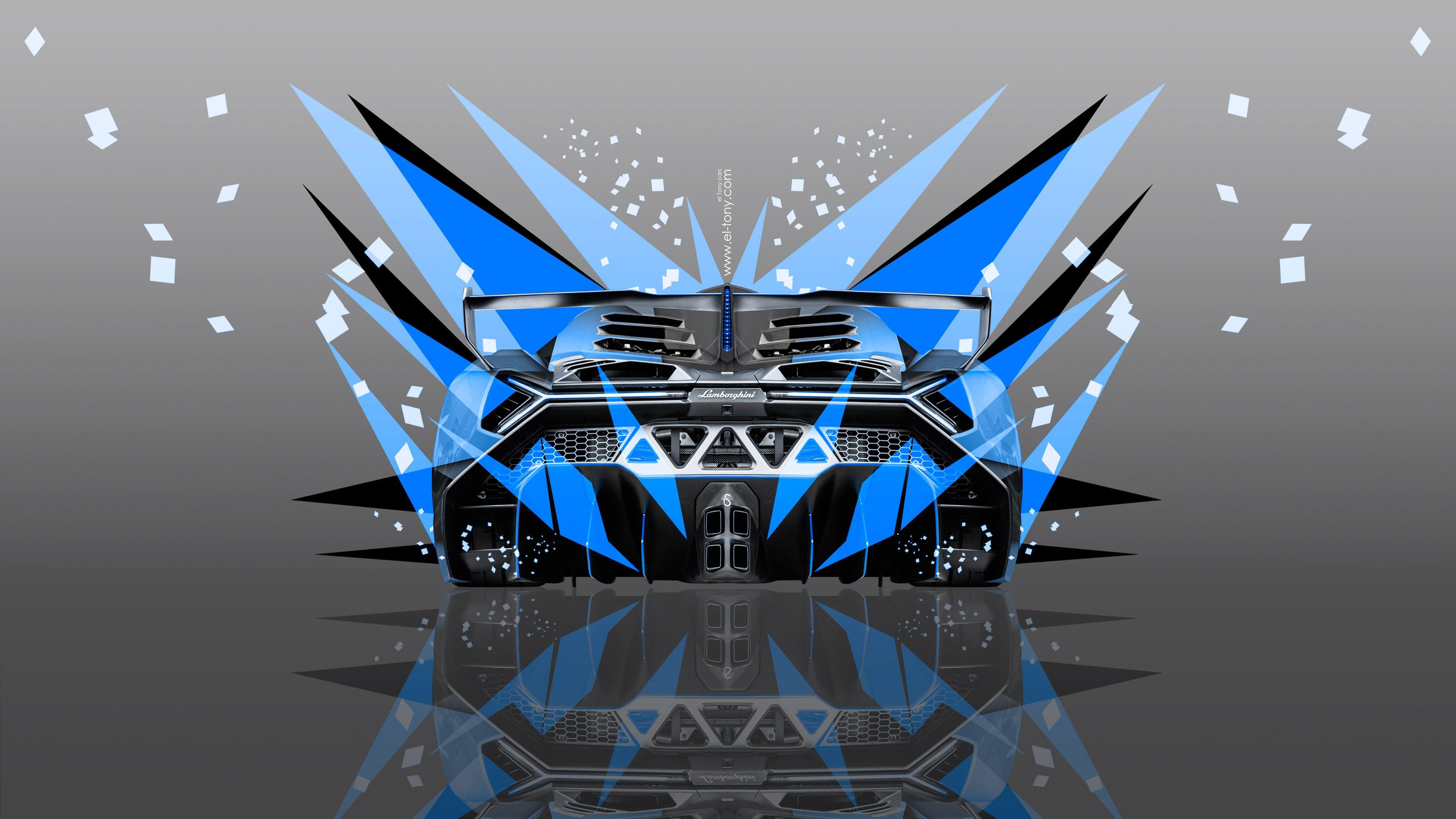 lamborghini veneno back abstract transformer car 2014 blue