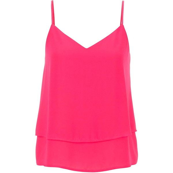 f643d4603dacff maurices Tiered Chiffon Tank In Pink (31 CAD) ❤ liked on Polyvore featuring  tops