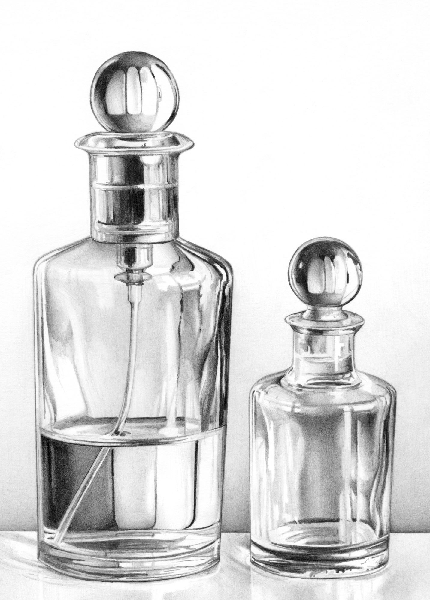 Pencil drawing by cath riley glass perfume bottles cath riley debut art
