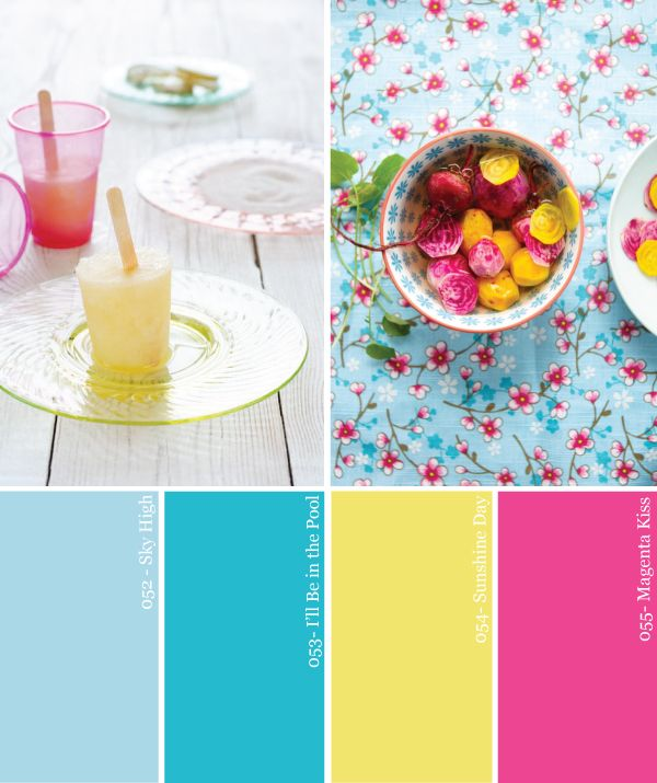 Hue it yourself turquoise yellow and magenta summer pool - Magenta wandfarbe ...