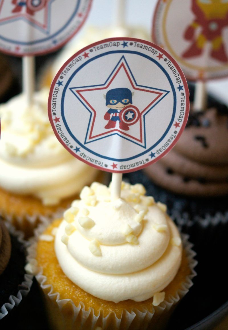 Free Printable Captain America Civil War Cupcake Toppers With
