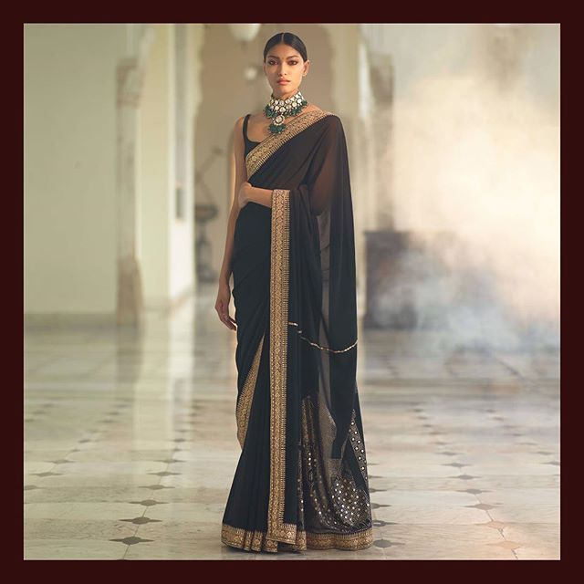 aefb7229b15de The Taj Saree. Black georgette saree with Taj Mahal rendered intricately  with badla on the pallu and detailed with an antique gota and marori border.