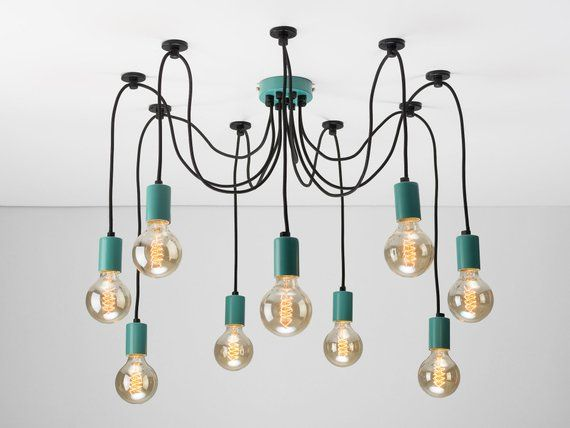 Choose cable lighting Kits Colored 9port Ceiling Pendant Swag Hook Spider Chandelier You Choose We Build Textile Cable People Colored 9port Ceiling Pendant Swag Hook Spider Chandelier You