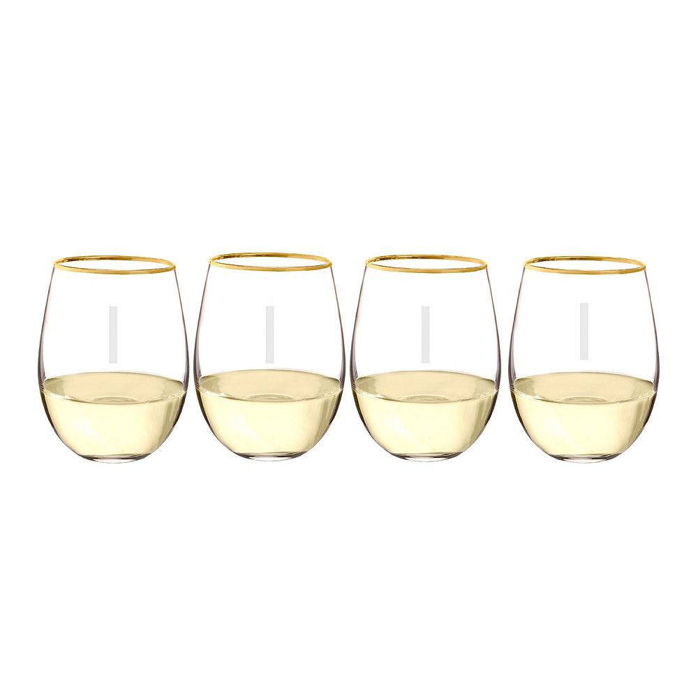 Cathy's Concepts 4-pc. Monogram Gold Rim Stemless Wine Set, Multicolor
