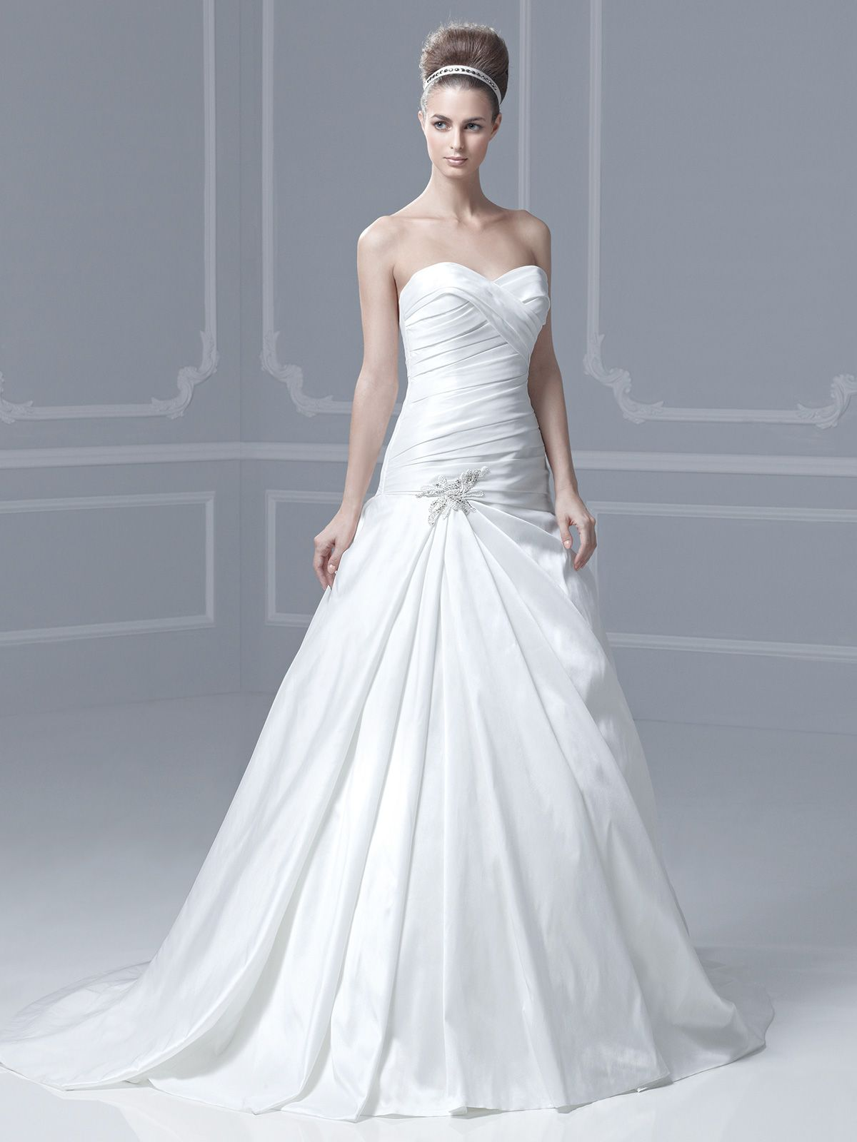 strapless-ruched-dropped-waist-silk-dupioni-bridal-gown-blue-by ...