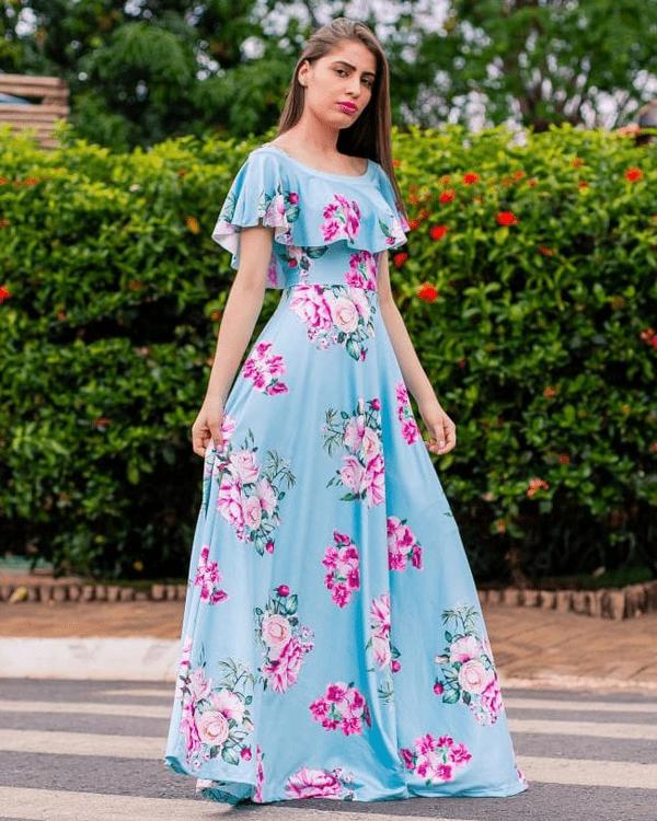 vestido longo ciganinha azul claro moda evangélica dapcom
