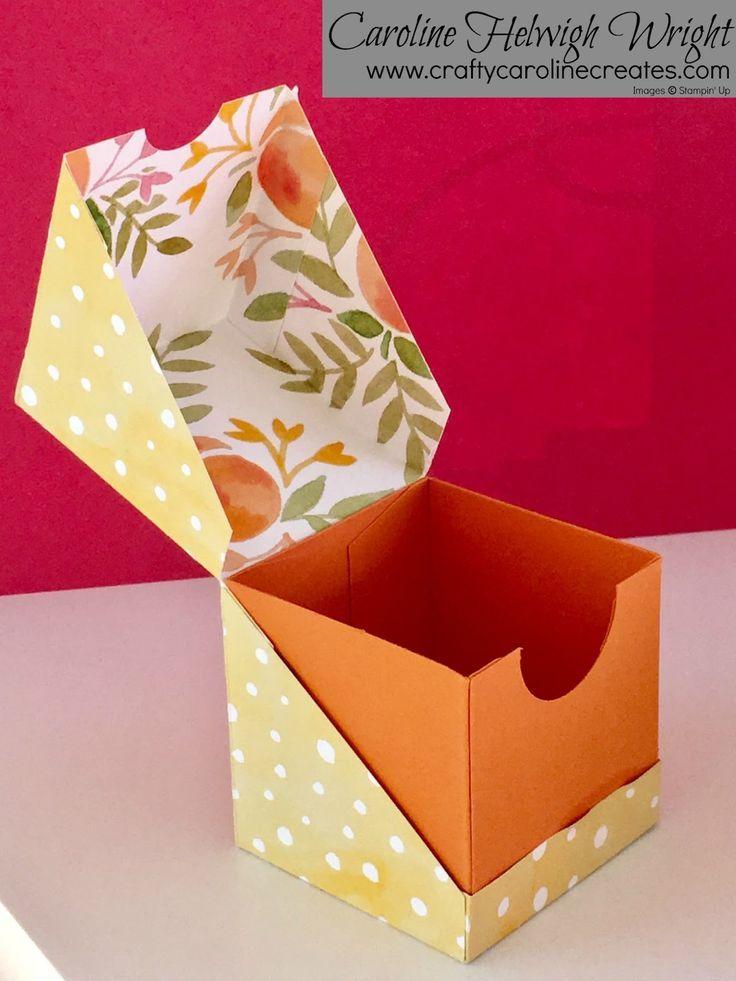 Geschenkverpackung für diagonale Öffnung - Video-Tutorial mit Stampin 'Up-Produkten. - #39UpProdukten #box #diagonale #für #Geschenkverpackung #mit #Öffnung #Stampin #VideoTutorial #rubberstamping