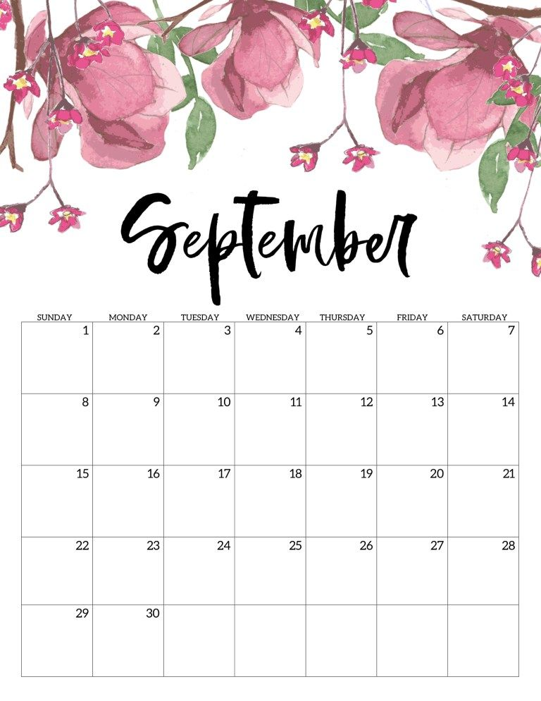 Free Printable Calendar 2019 - Floral Calendar Pinterest