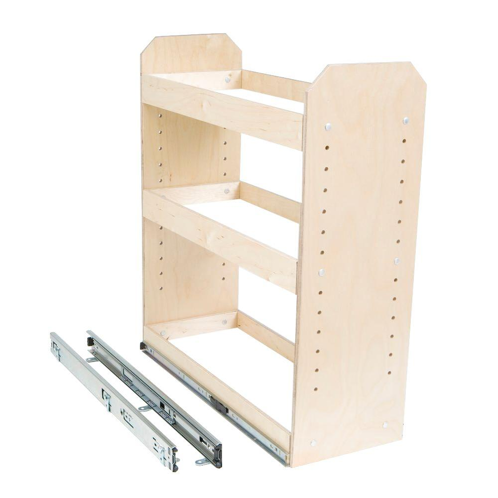 Slide A Shelf Made To Fit 6 In To 12 In Wide 3 Tier Adjustable Tower Cabinet Organizer Full Extension Poly Finished Birch Wood Sas Si 3t The Home Depot Cabinet Organization Shelves Kitchen Storage Organization