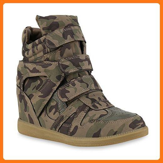 Sneakers Glitzer Sneaker Sportliche Damen Wedges Lochung SMqUpGzV