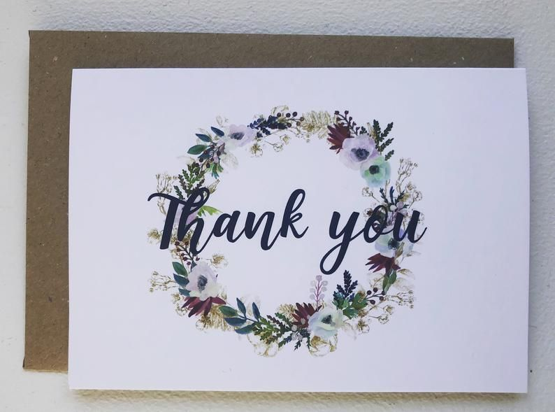 Thank You Card Set of Cards Set of 5 Thank You Cards Handmade Thank You Card Flower Card