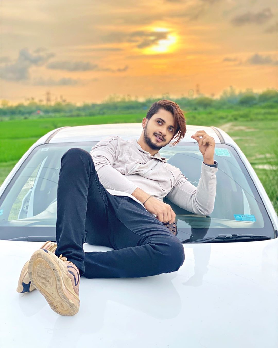 White Car With Hasnain In 2020 Photoshoot Pose Boy Cute Boy Photo Photoshoot Poses